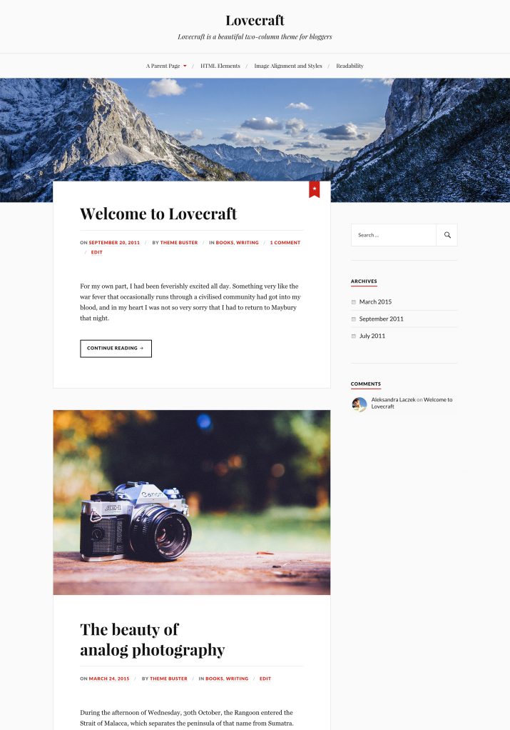 Lovecraft WordPress theme