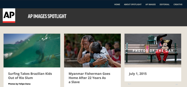 The homepage of AP Images Spotlight.