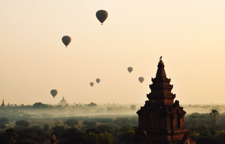 Hot air balloons in Bagan, Myanmar.