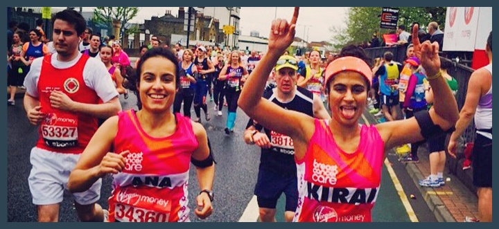 Kiran Gandhi, running the London Marathon.