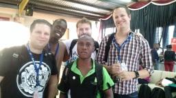 From left: Matty, Nelson Kwaje, Gareth (rear), David Wampamba, and Job.