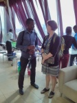 Deborah chats with an attendee about hiring at Automattic.