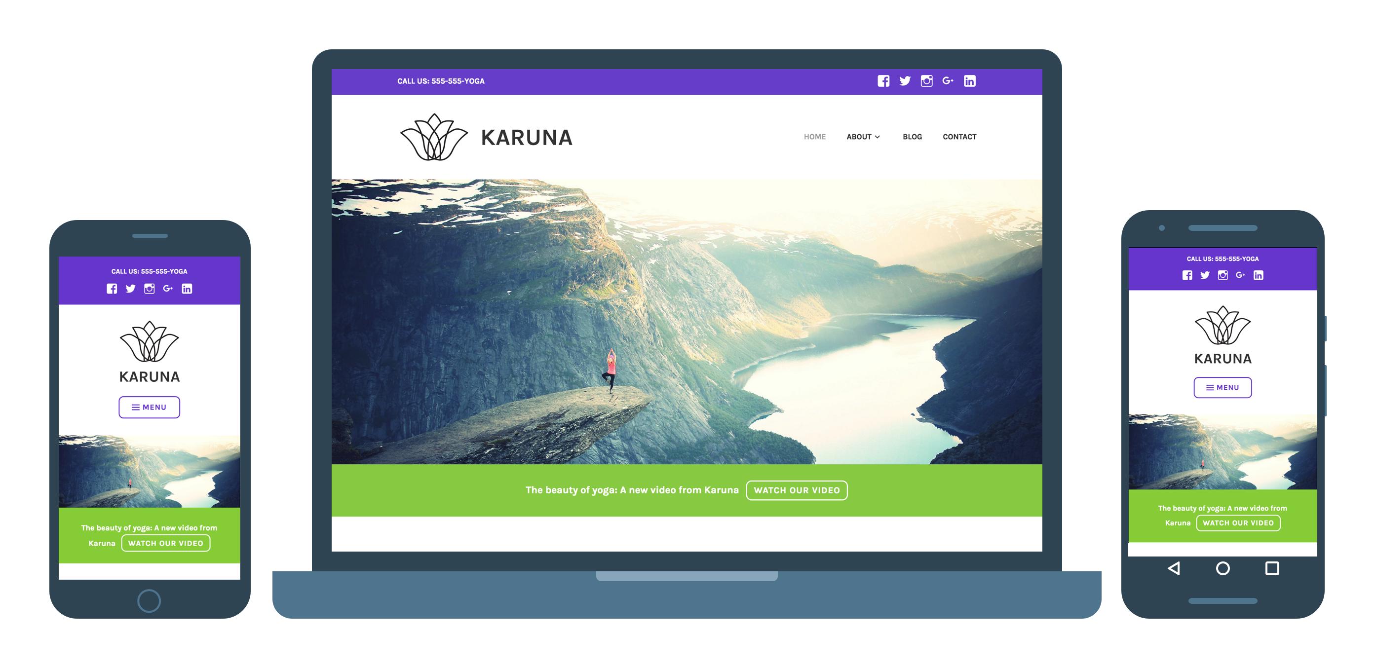 Karuna, um tema WordPress responsivo para empresas de saúde e bem-estar.
