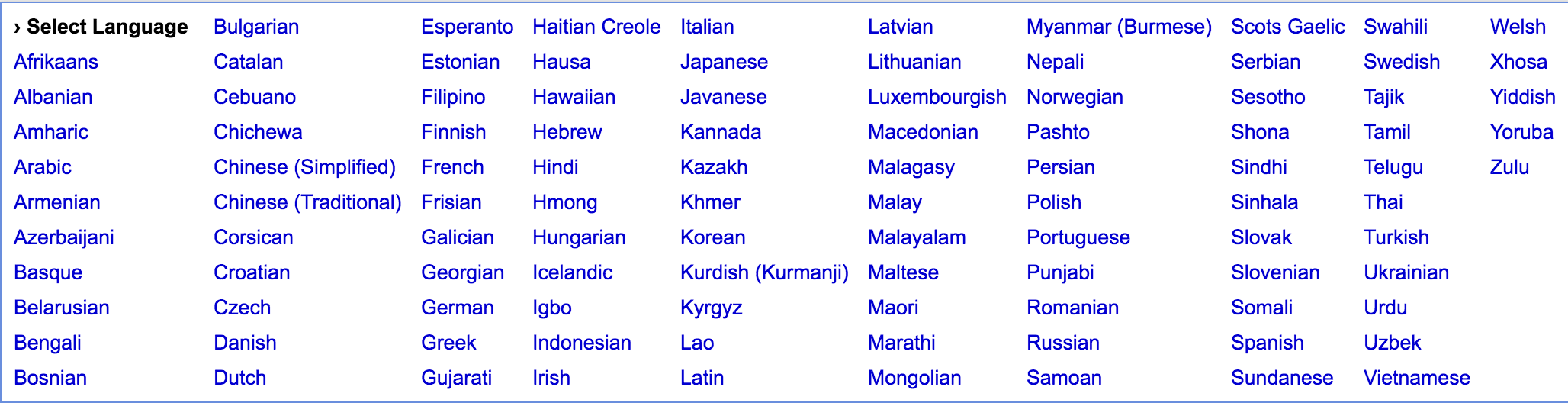 Languages currently supported by Google Translate.