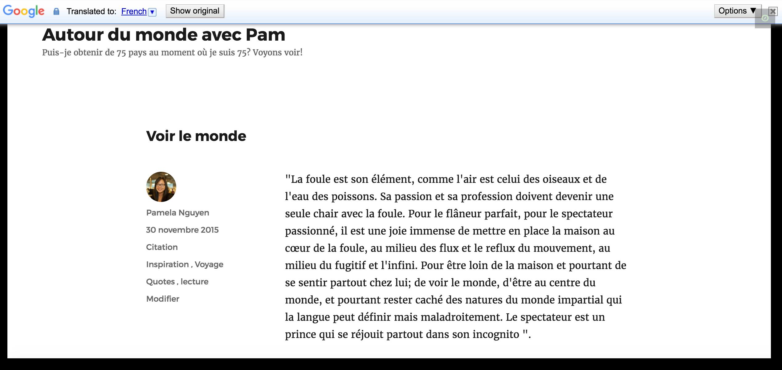 O post de blog acima, automaticamente traduzido em francês com o Widget do Google Translate.
