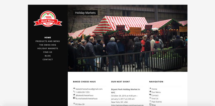 The website of Baked Cheese Haus.