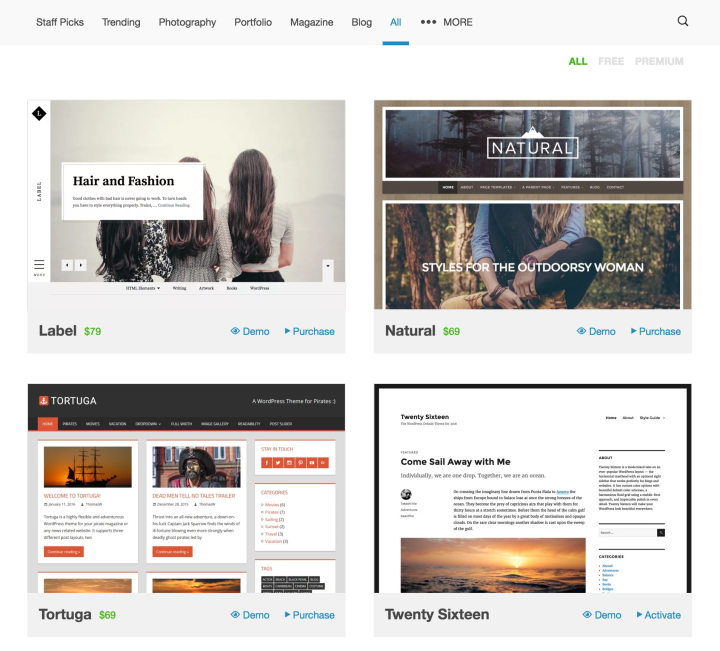 Browse and try hundreds of themes in the WordPress.com theme showcase.