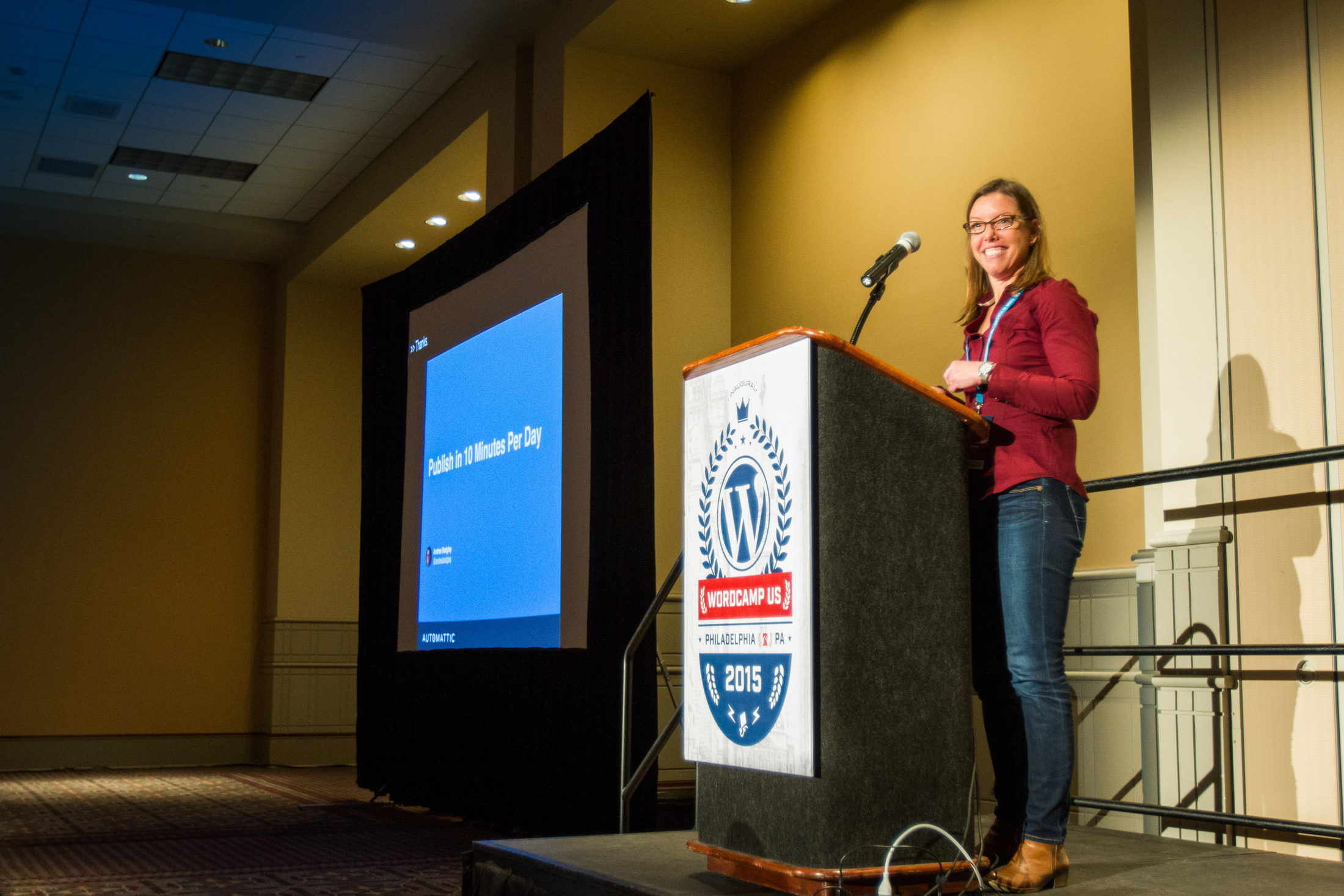 Andrea Badgley talks about Publish in 10 Minutes Per Day at WordCamp US 2015 #wcus Photo by Sheri Bigelow