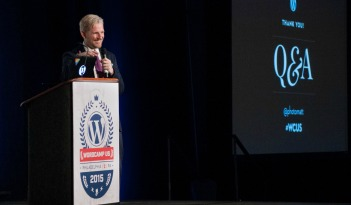 Matt Mullenweg delivers the State of the Word, at the Inaugural WordCamp US, in 2015 #wcus
