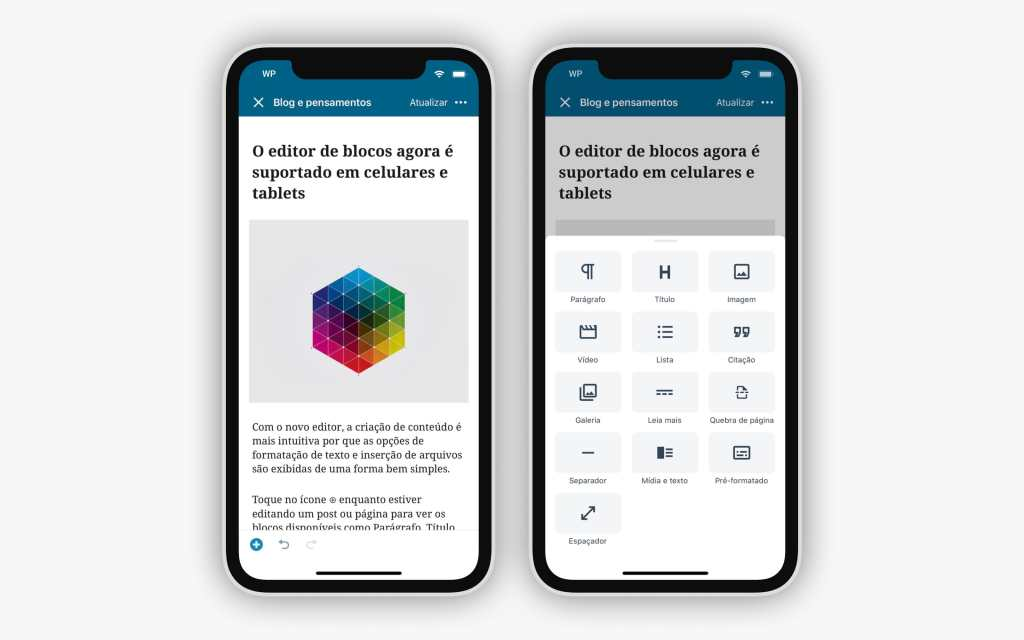 mobile-block-editor-ios-brazillian-portuguese-light402x The Block Editor is Now Supported on the WordPress Native Apps WPDev News  Mobile|New Features|Block editor|languages|Translation|WordPress for Android|WordPress for iOS