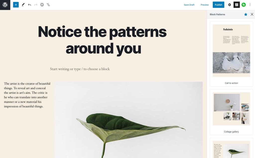 notice-the-block-patterns Create With Confidence — and Better Blocks WPDev News  Editing|Features|New Features|Block editor|Editor|gutenberg|wordpress-com