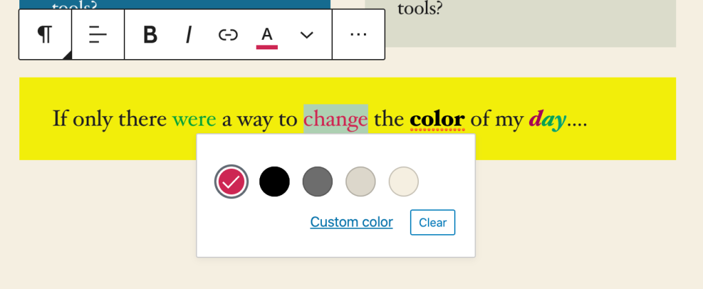 text-color-editor02 Create With Confidence — and Better Blocks WPDev News  Editing|Features|New Features|Block editor|Editor|gutenberg|wordpress-com
