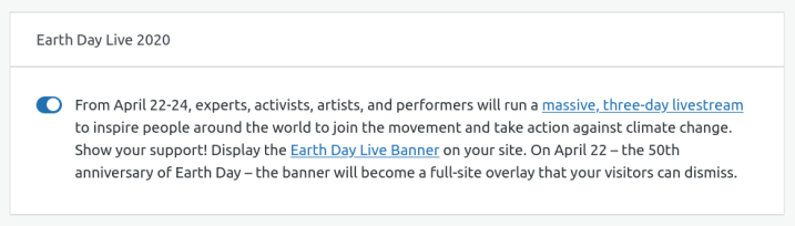 screenshot-from-2020-04-20-15-57-58 Earth Day Turns 50 with a Massive Livestream Event WPDev News  Community|Events|New Features|Resources|settings|WordPress|WordPress.com|Digital Climate Strike|Earth Day|environment|Global Climate Strike