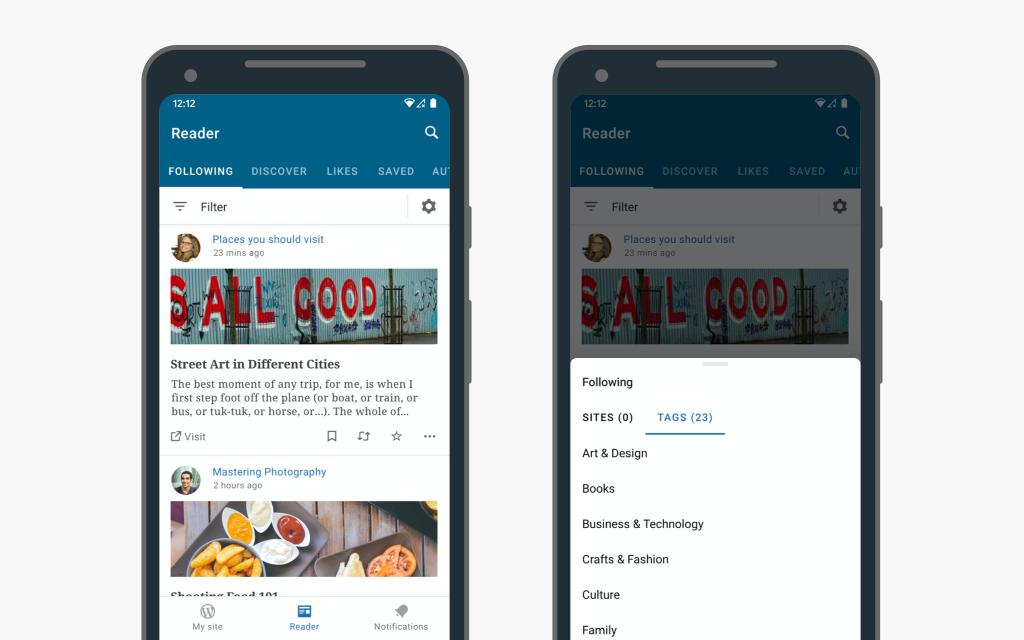 reader 1 - Improved Navigation in the WordPress Apps