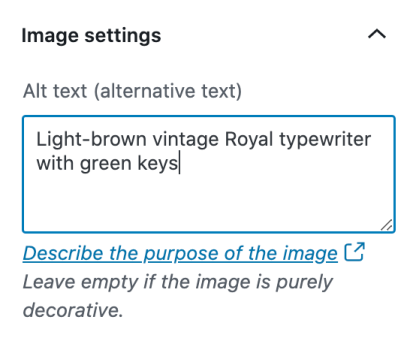 An example of image alt text written in the Alt Text field in the Image Block's settings