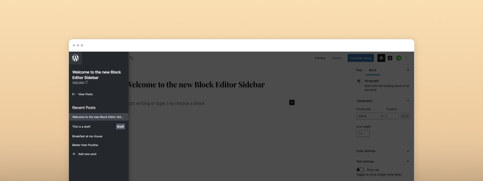 Manage Posts and Pages with the Block Editor Sidebar