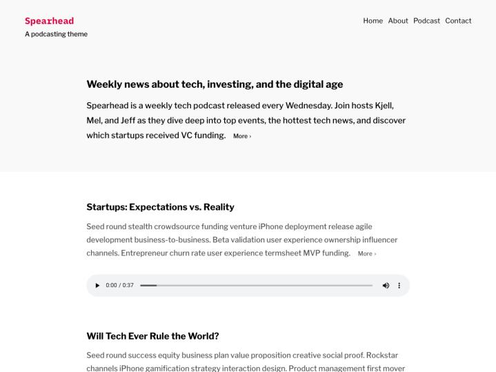 Screenshot of the Spearhead theme demo page home screen