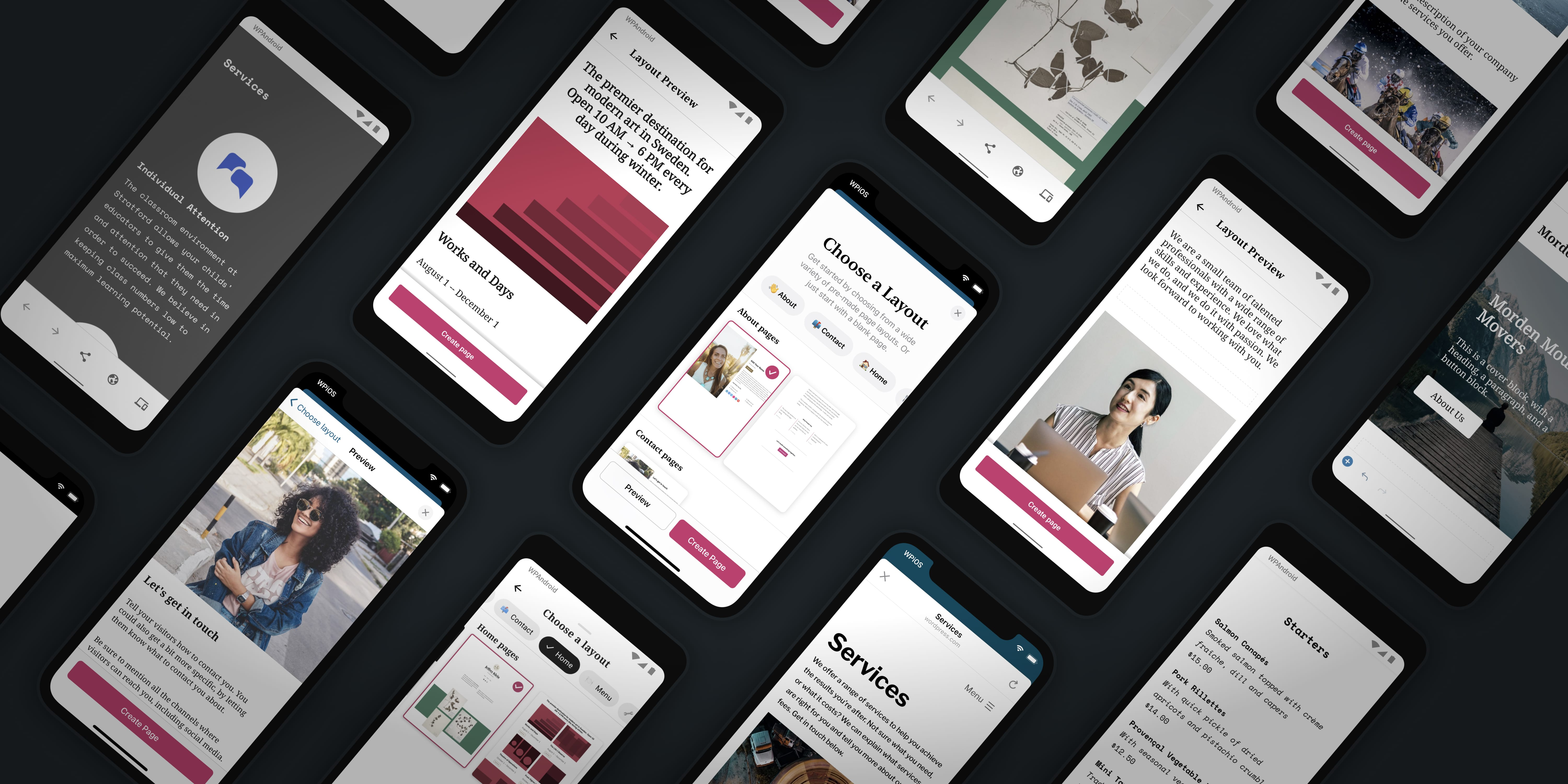 Build a Beautiful Site in the WordPress Mobile Apps with Predesigned Page Layouts
