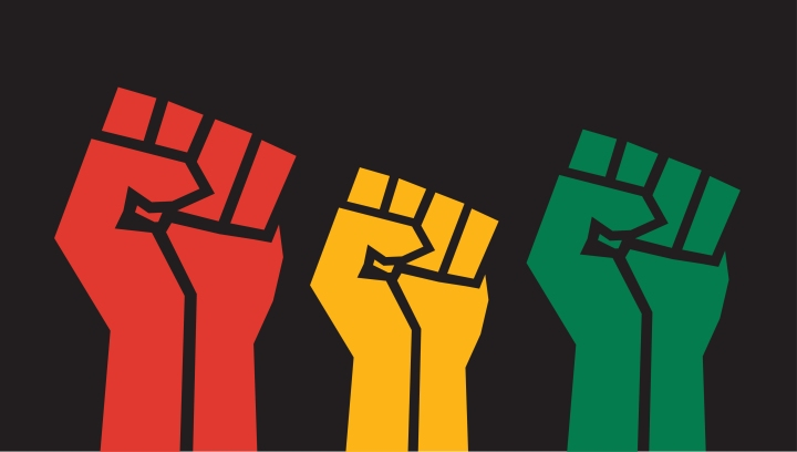 An illustration of three fists in the air in the colors of red, yellow, and green