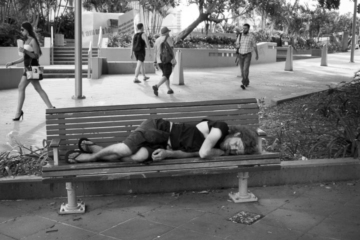BRISBANE, AUSTRALIA Homeless Man, albert street by Jeff Ryan