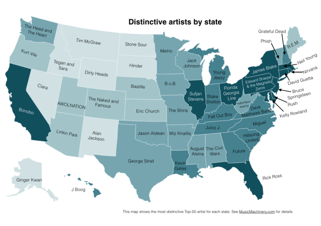Most distinctive Top 50 artist by state -- chart by Paul Lamere